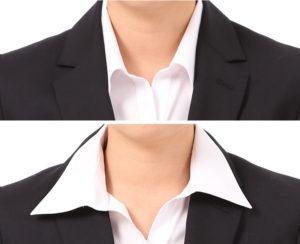 スキッパーカラーの襟を出す出さないの比較